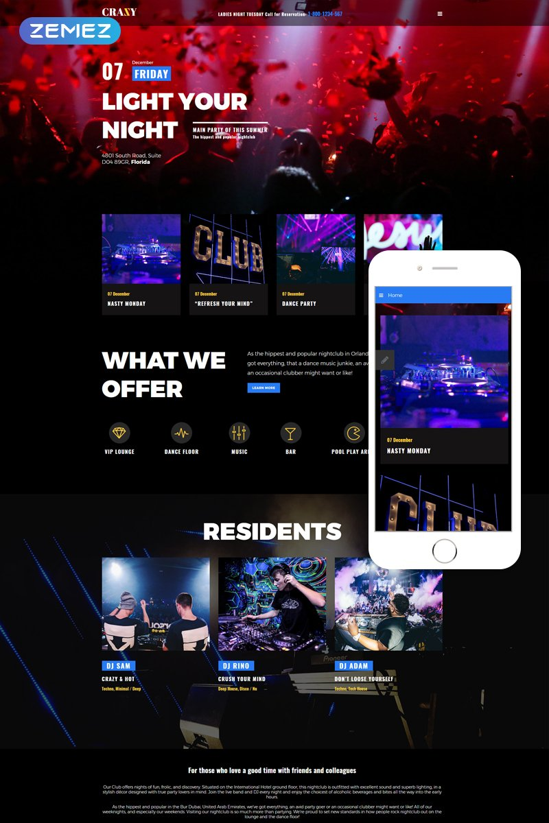 """Crazy - Night Club Modern Responsive"" thème Joomla adaptatif #75853"