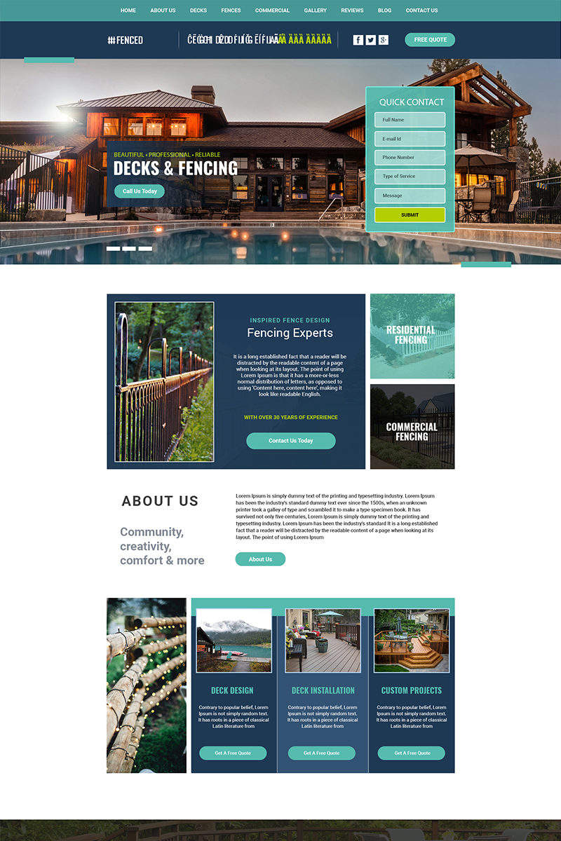 Fenced - Multipurpose Deck and Fencing PSD Template
