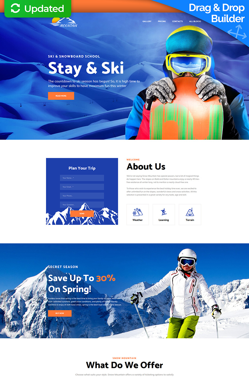Responsivt Mountain - Snowboarding School Landing Page-mall #75869