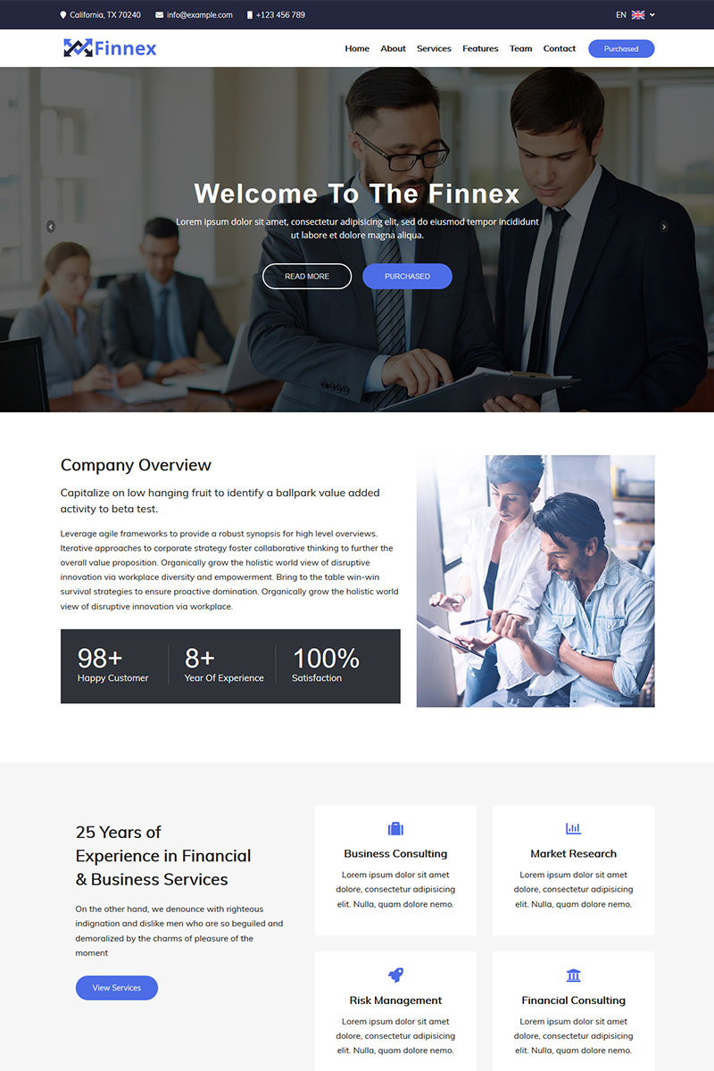 Finnex - Startup Landing Page Template Landing Page Template
