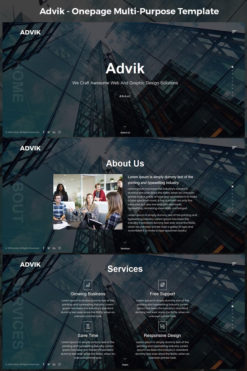 """Advik - Onepage Multi-Purpose HTML5"" 响应式着陆页模板 #75953"