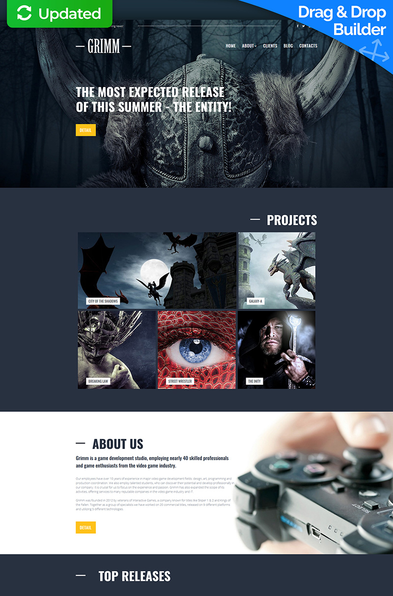 GRIMM - Game Development Studio Moto CMS 3 Template