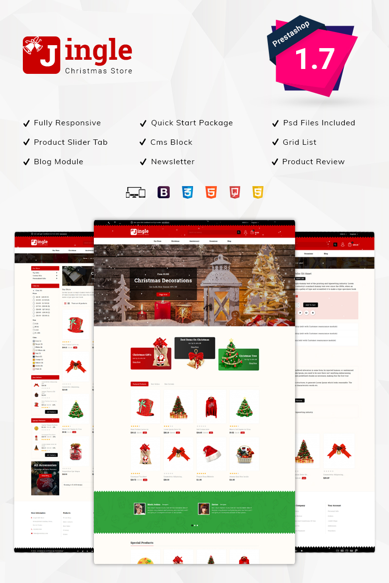 """Jingle Gift Store"" Responsive PrestaShop Thema №75981"