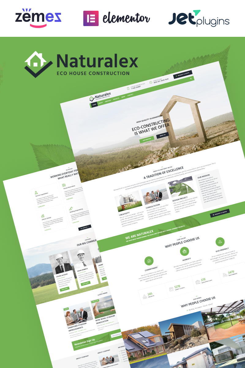 """Naturalex - Construction Multipurpose Classic Elementor"" Responsive WordPress thema №75933"