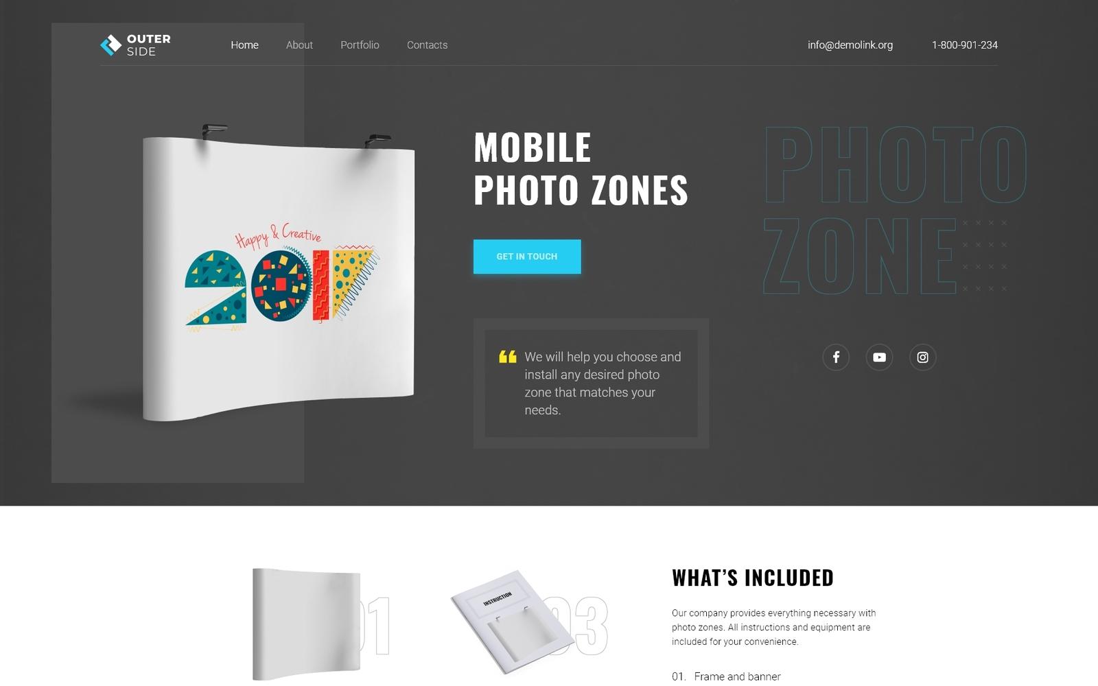 """Outer Side - Photo Zones One Page Modern HTML"" - адаптивний Шаблон цільової сторінки №75976"