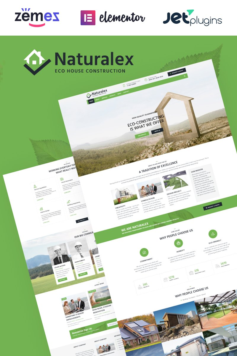 Responsivt Naturalex - Construction Multipurpose Classic Elementor WordPress-tema #75933