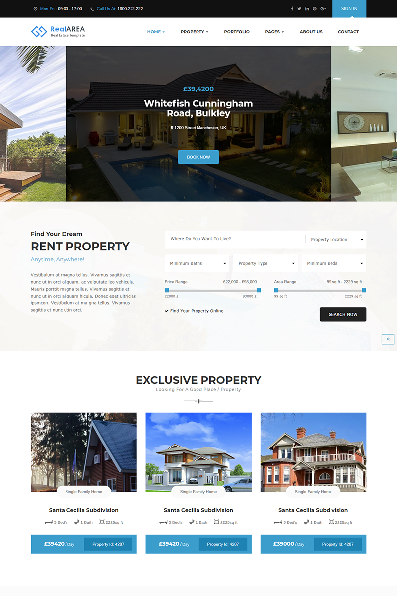 Responsywny motyw WordPress RealArea - RealEstate #75916