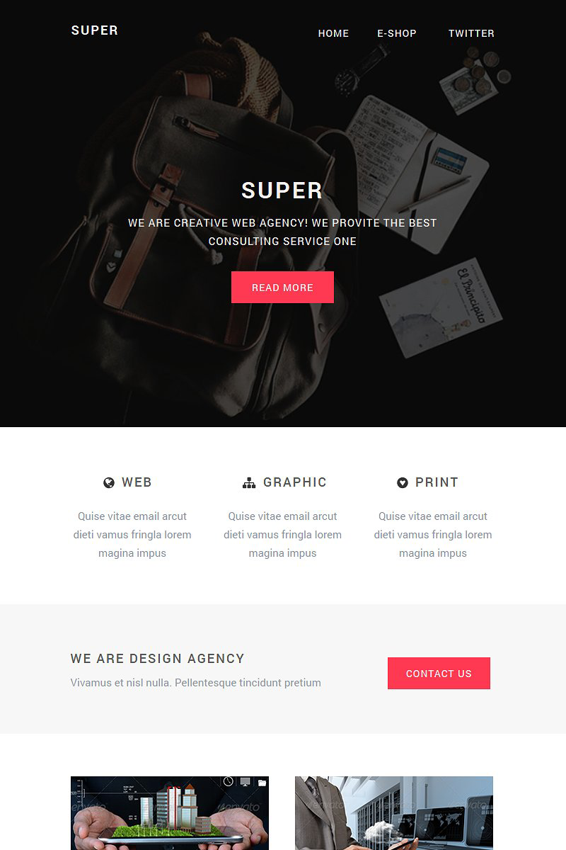 """""""Super - Resposive Email Template with Builder"""" modèle Bulletin  #75925"""