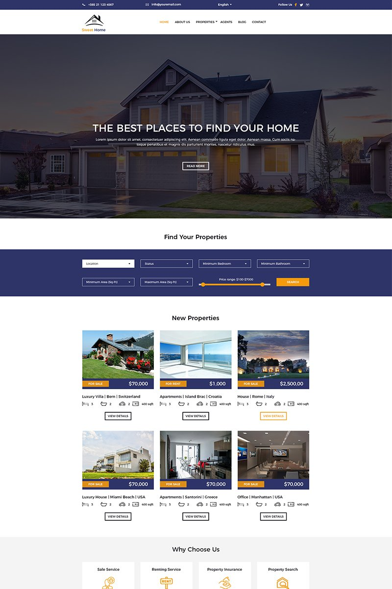 Sweet Home Real Estate Template Photoshop №75935