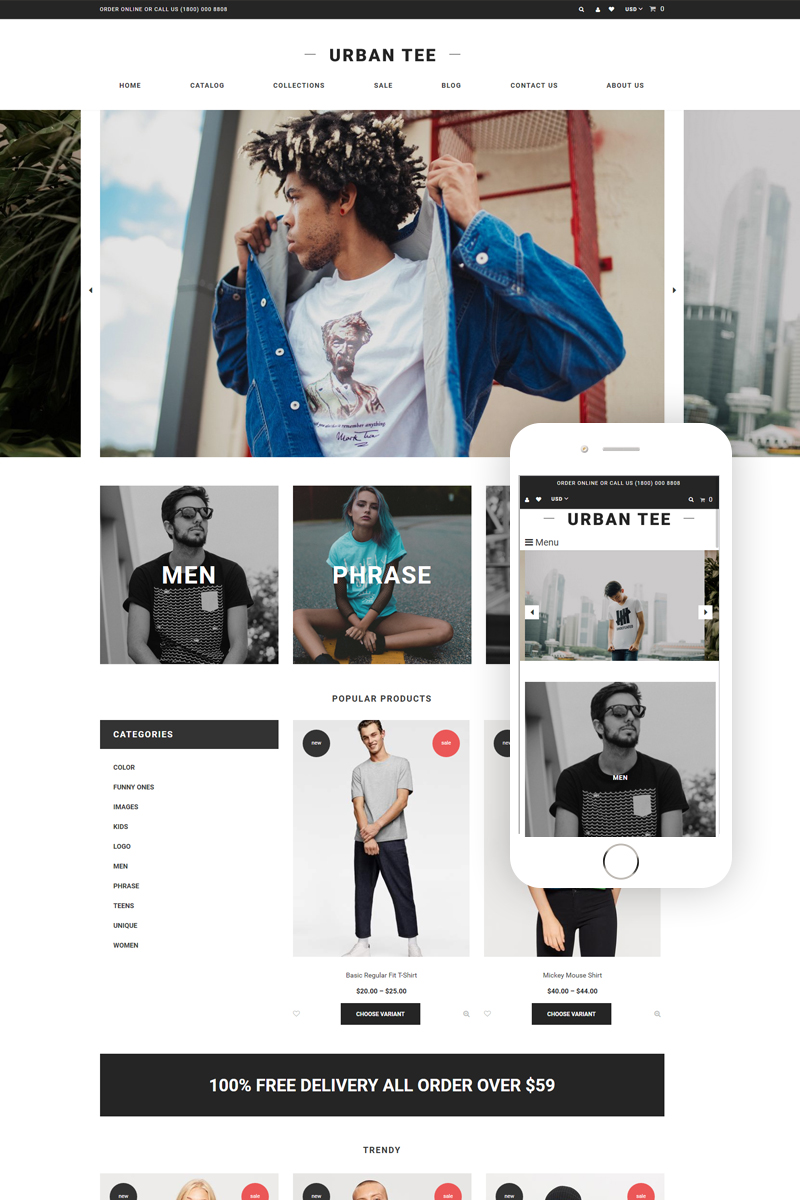 "Tema Shopify ""Urban Tee - T-Shirt Store Clean"" #75971"