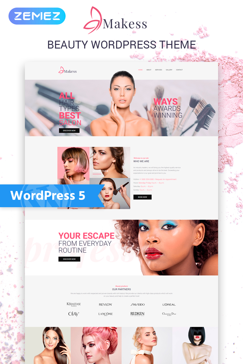 "Template WordPress Responsive #75970 ""Makess - Beauty Salon Multipurpose Classic Elementor"""