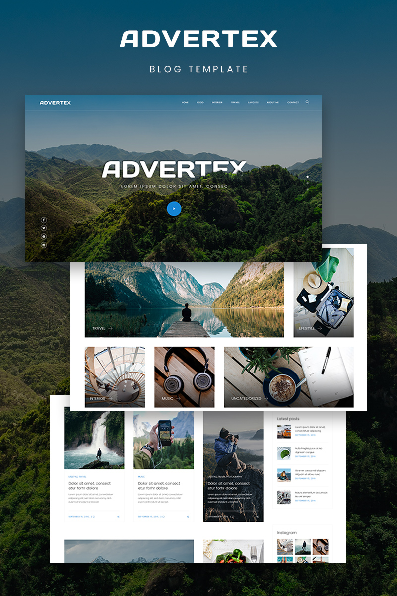 "WordPress Theme namens ""Advertex - Travel Personal Blog"" #75955"