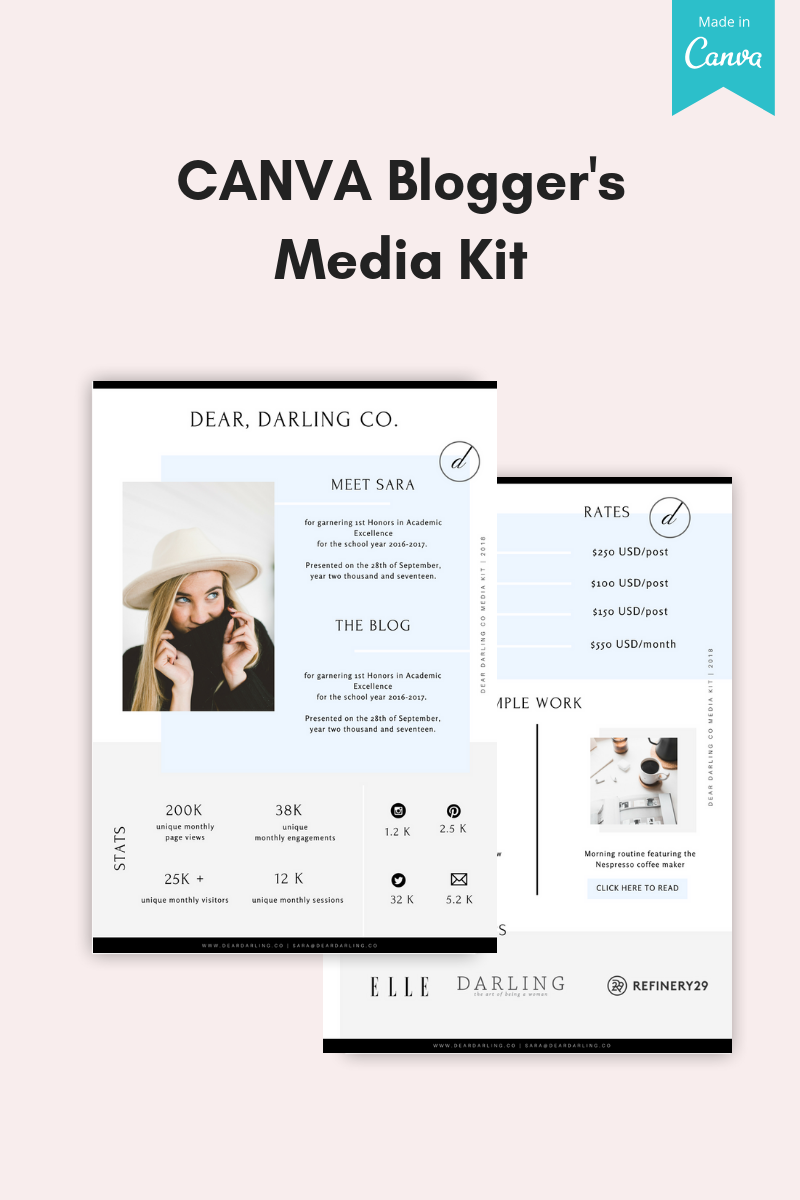 """""""CANVA Bloggers Media Kit"""" UI Elementen №76010 - screenshot"""