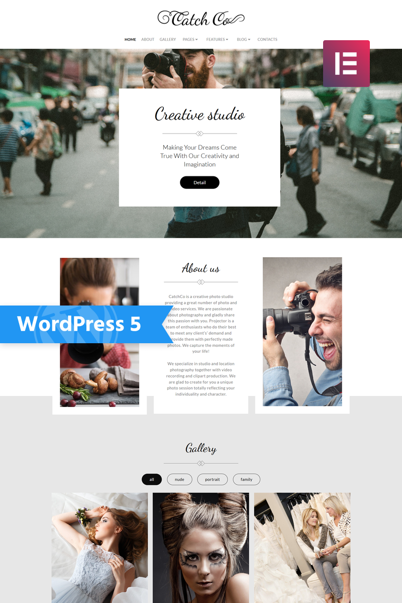 """Catch Co - Photo Studio Multipurpose Creative Elementor"" Responsive WordPress thema №76017"