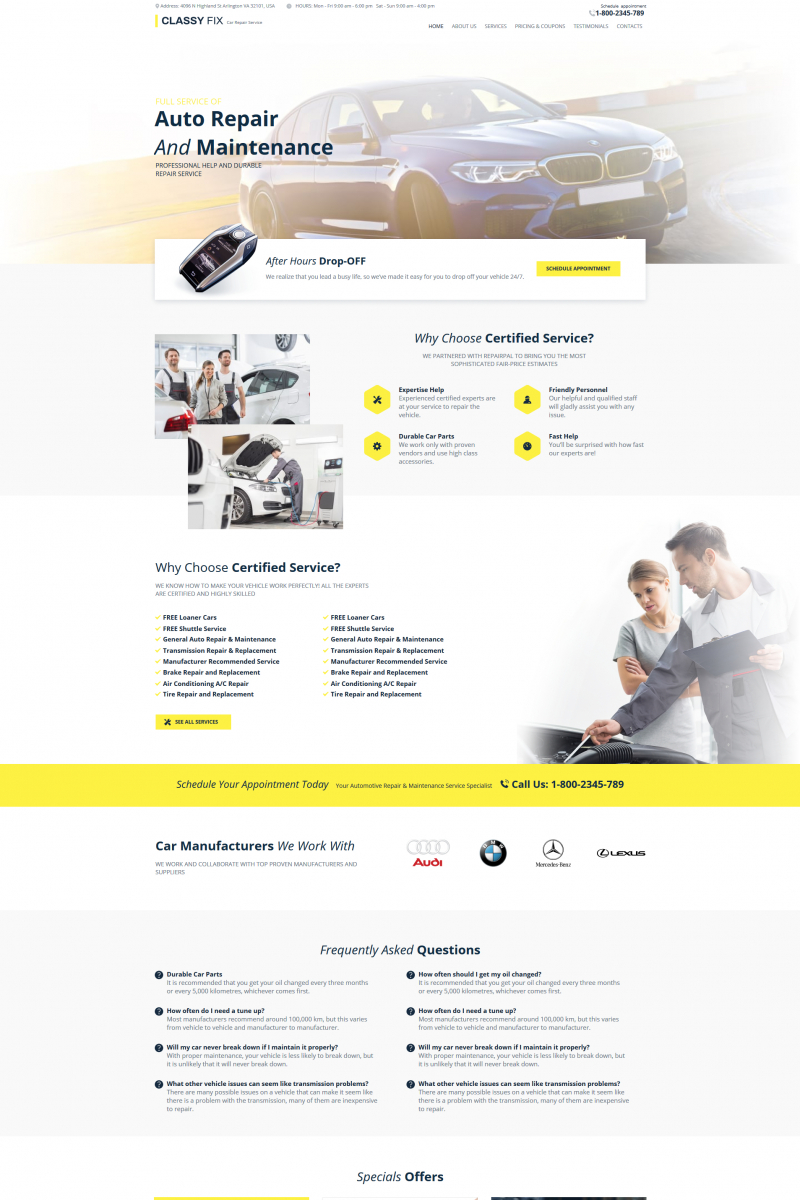 """Classy Fix - Car Repair"" modèle Moto CMS HTML  #76016"