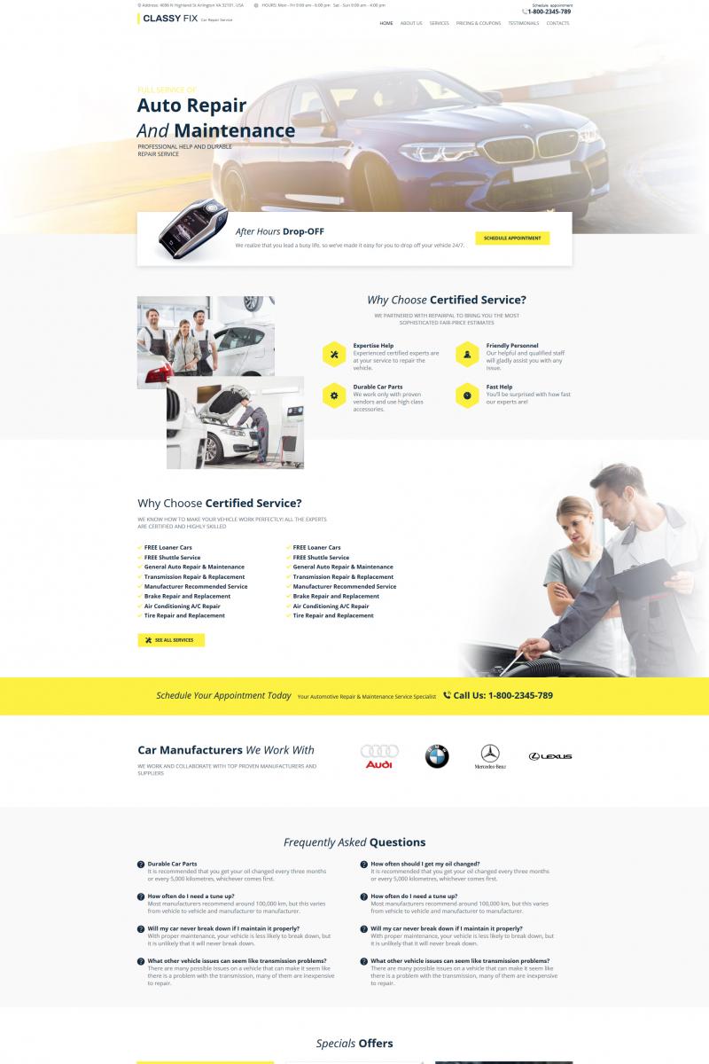 """""""Classy Fix - Car Repair"""" Moto CMS HTML Template №76016"""