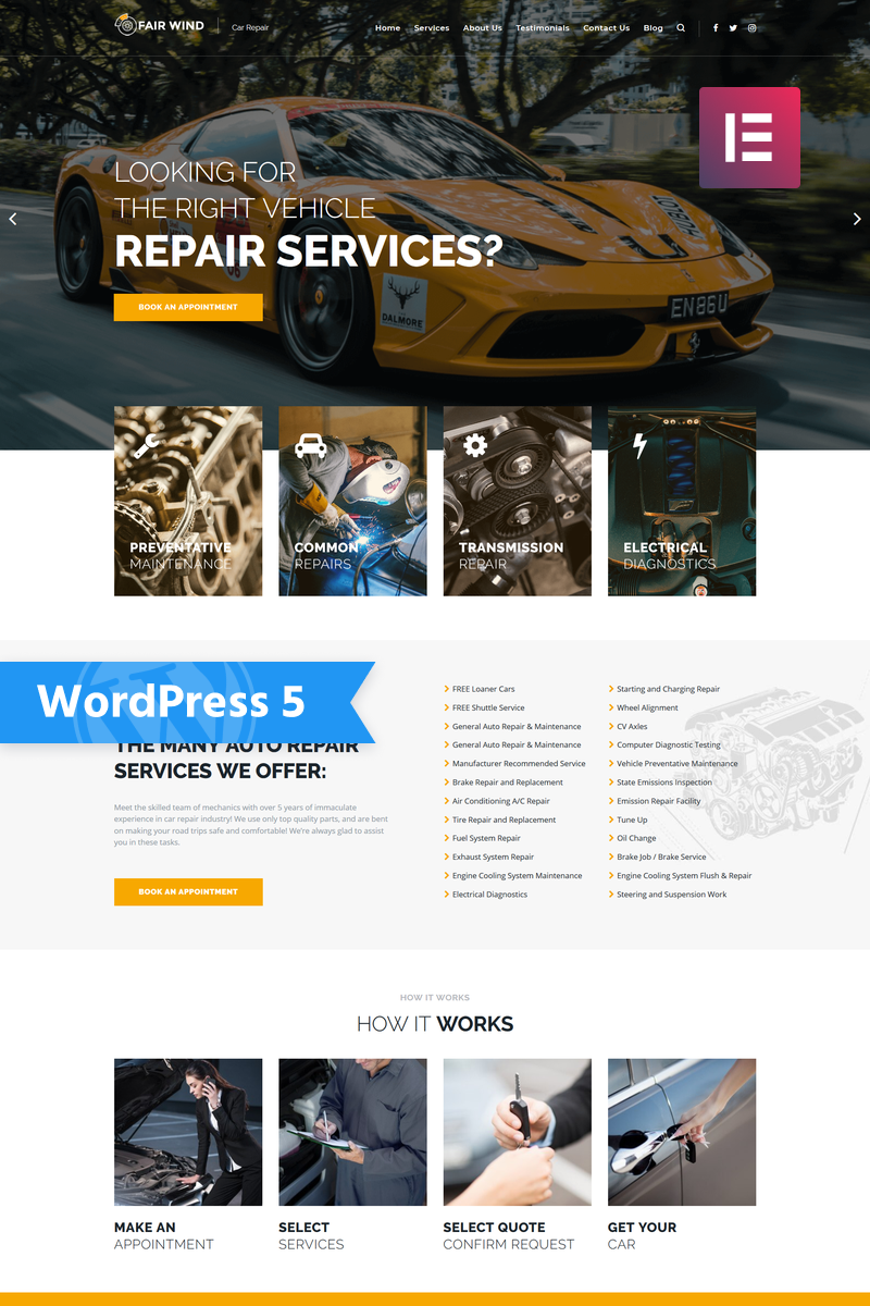 """""""Fair Wind - Car Repair Modern Elementor"""" - адаптивний WordPress шаблон №76007"""