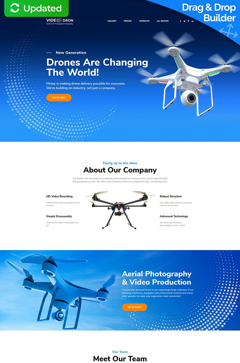 "Landing Page Template namens ""Drone Photography"" #76013"