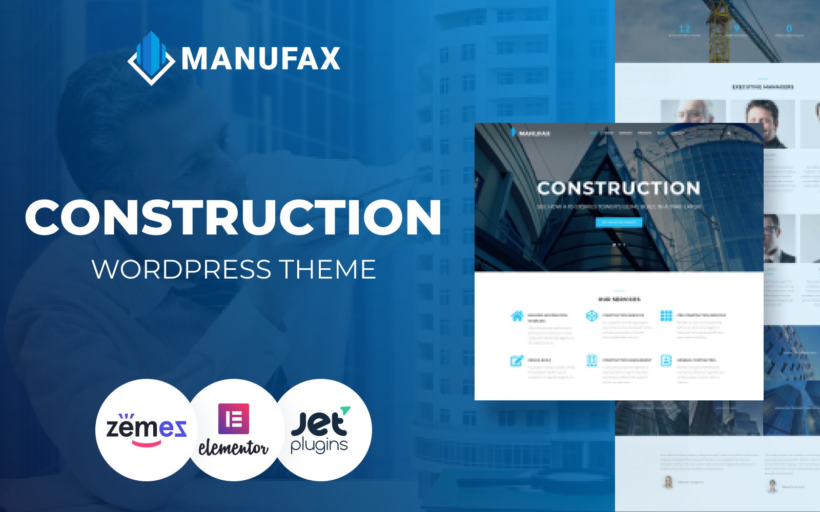 """Manufax - Construction Multipurpose Creative Elementor"" Responsive WordPress thema №76018"