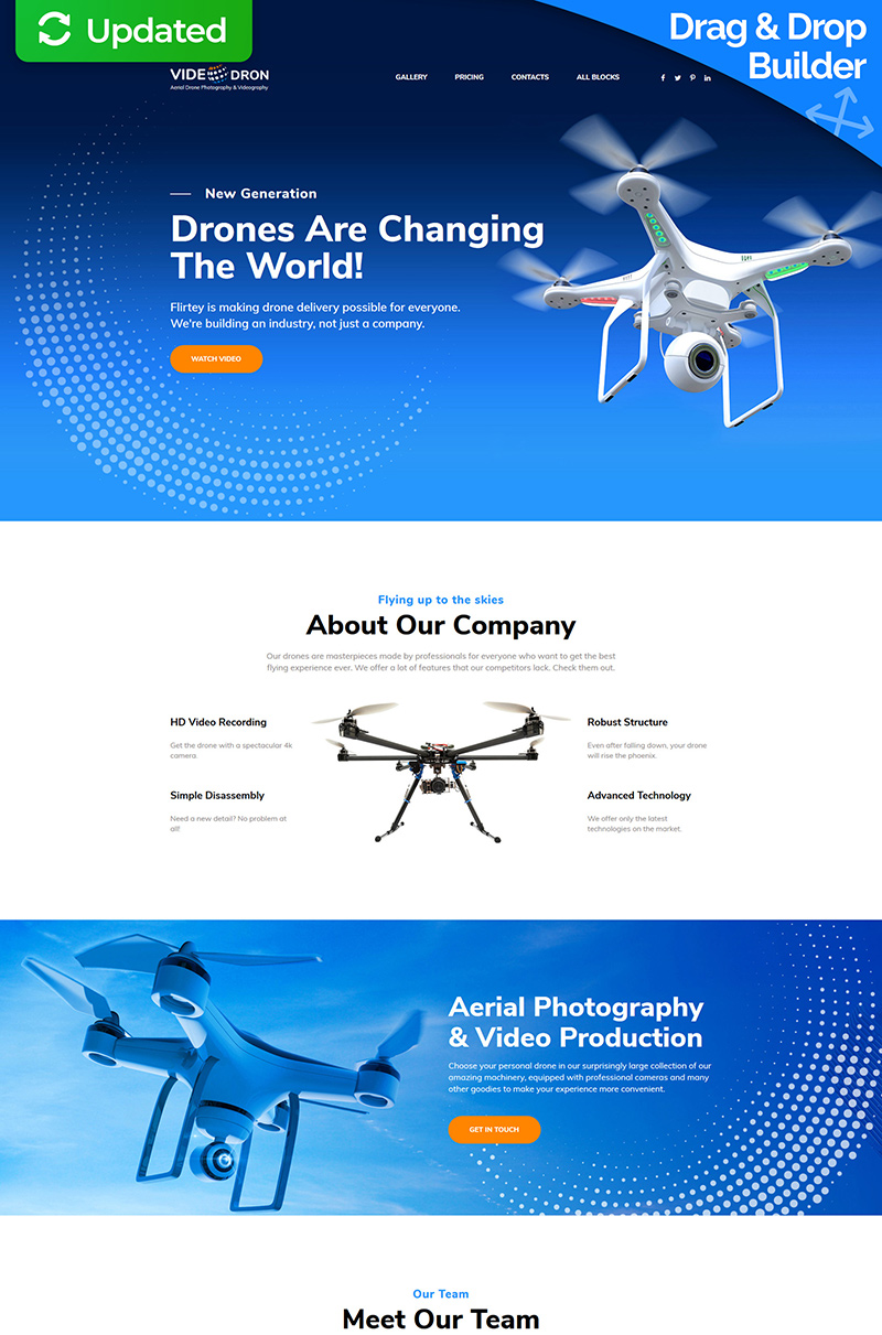 "Modello di Landing Page Responsive #76013 ""Drone Photography"""