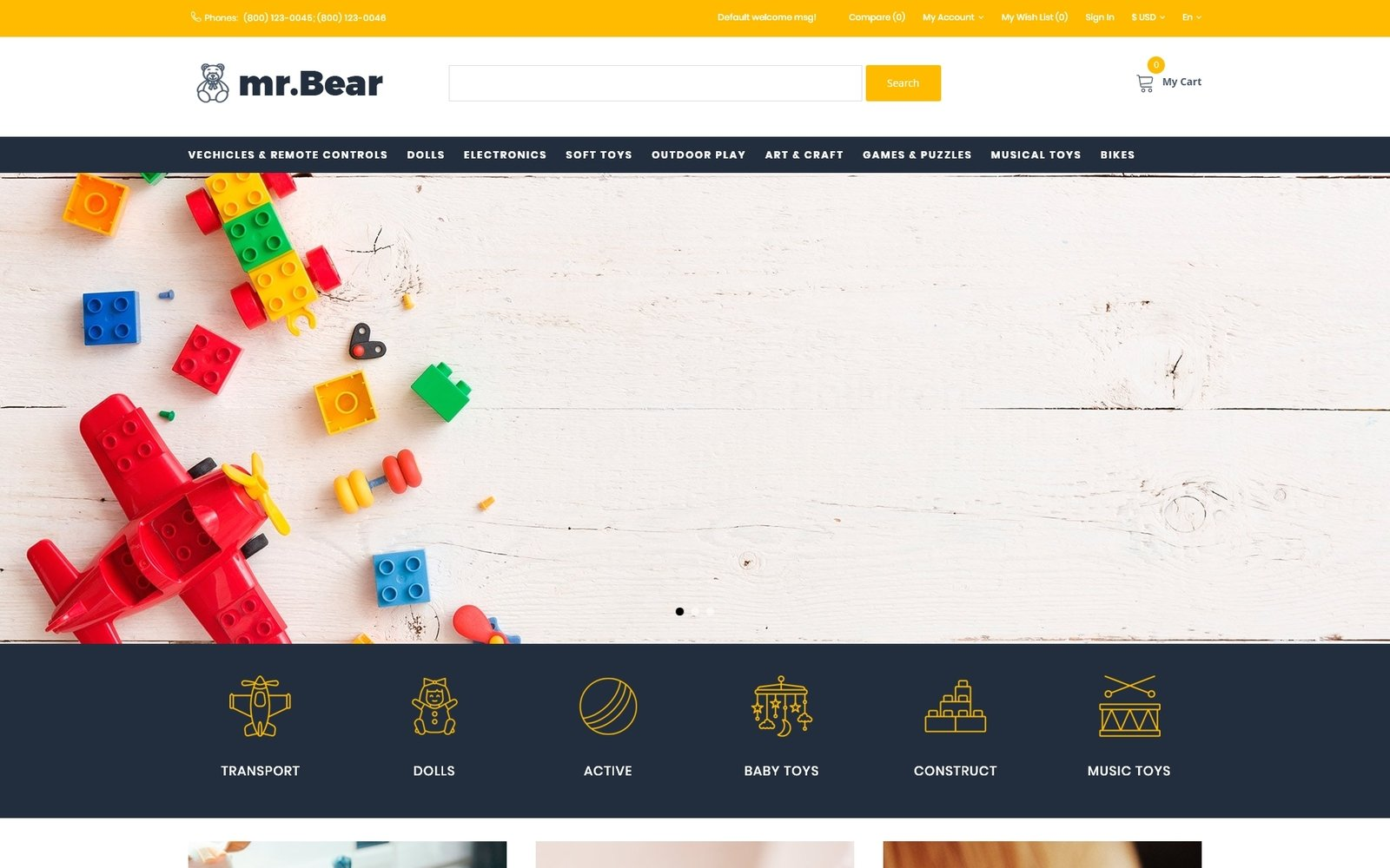 Mr.Bear - Toys Multicurrency Bright OpenCart Template