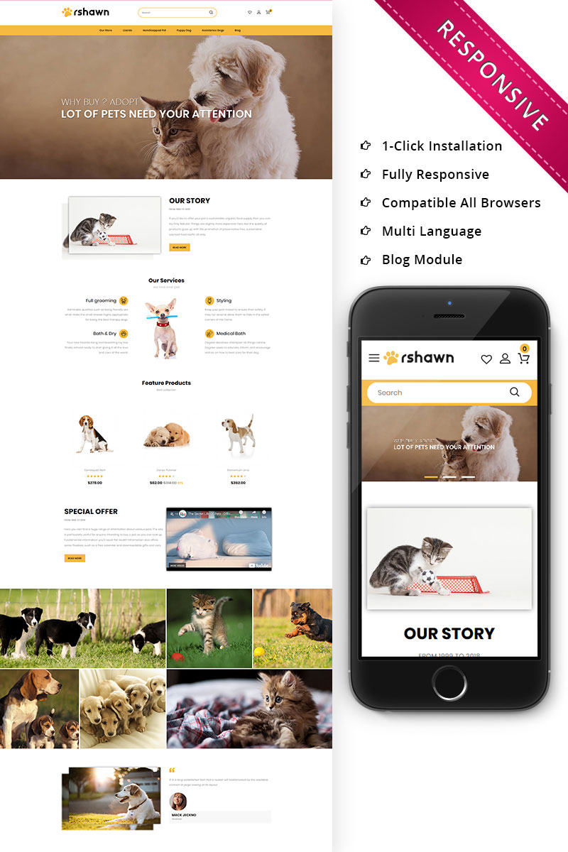 "OpenCart Vorlage namens ""Rshawn - The Pet Shop Responsive"" #76008 - Screenshot"