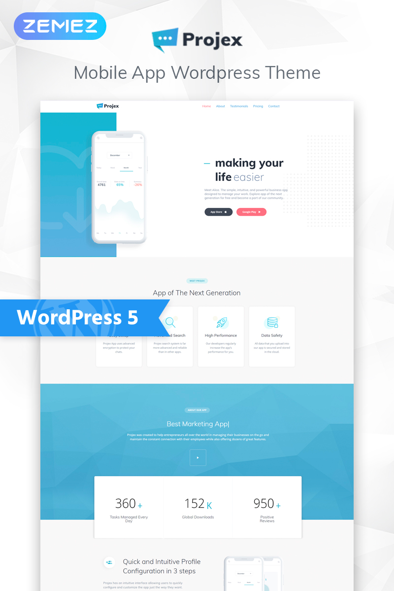Projex - Business Mobile App Multipurpose Clean Elementor WordPress Theme