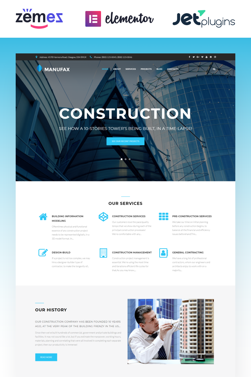 Responsivt Manufax - Construction Multipurpose Creative Elementor WordPress-tema #76018