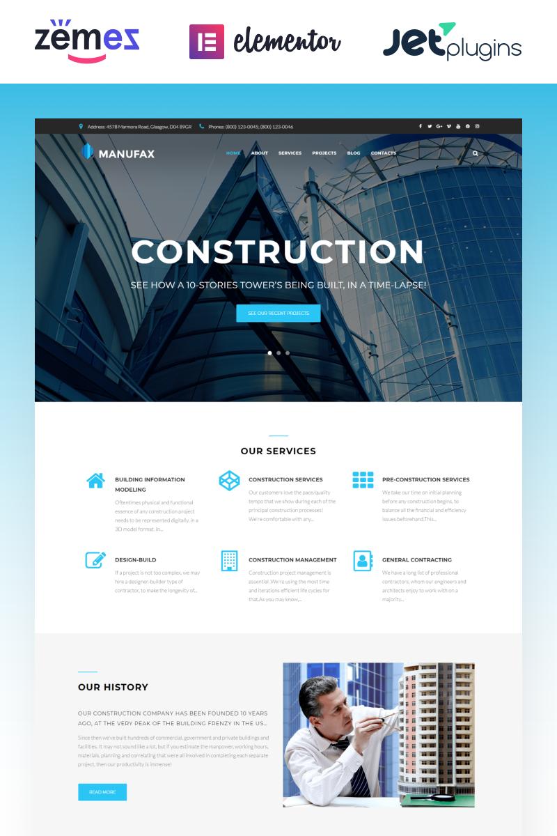 Responsywny motyw WordPress Manufax - Construction Multipurpose Creative Elementor #76018