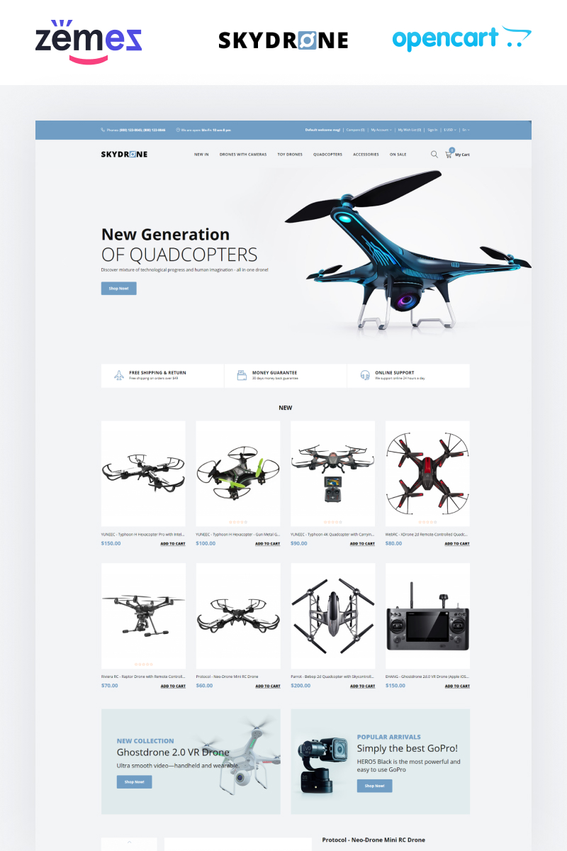 """Skydrones - Quadcopter Responsive Elegant"" - адаптивний OpenCart шаблон №76025"