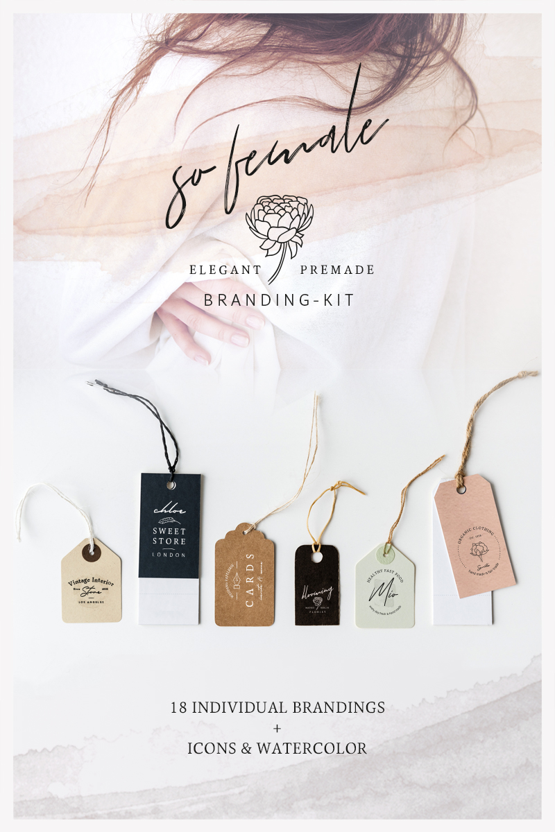 So Female Branding Kit + Watercolours Logo Template