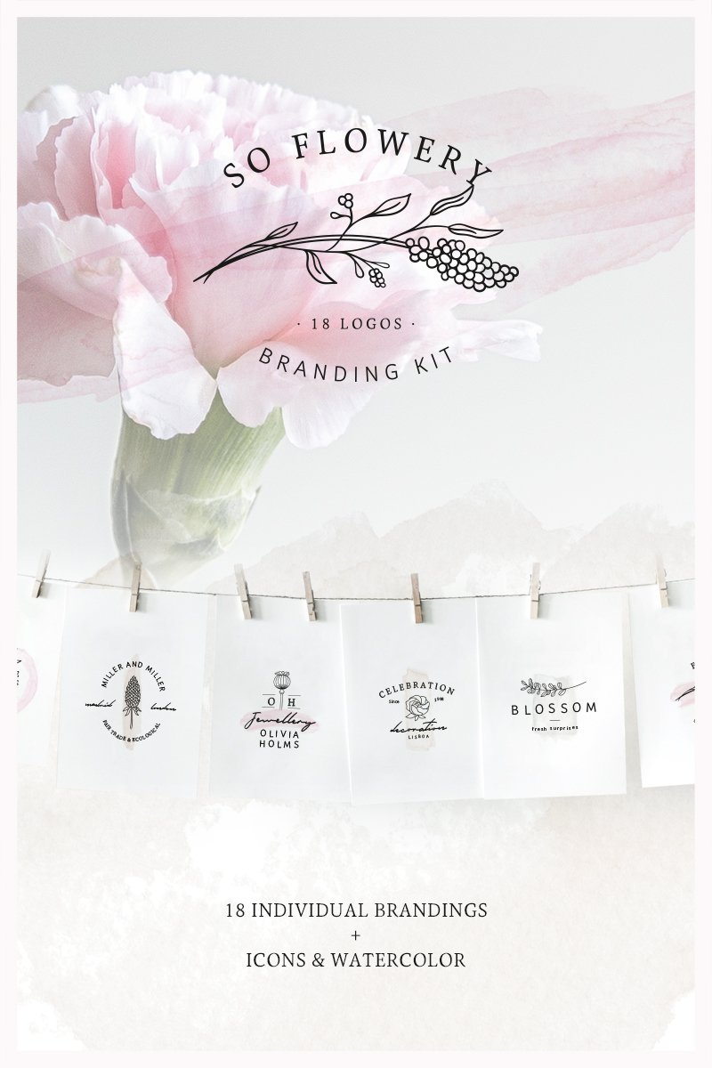 So Flowery Branding Kit + Watercolours Logo Template