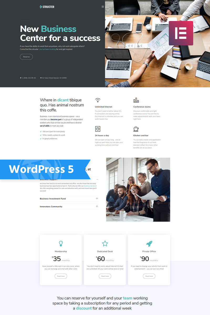 Structer - Business One Page Classic Elementor WordPress Theme - screenshot