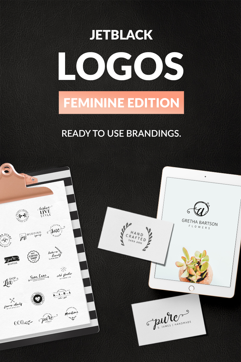 "Template di Loghi #76099 ""30 Premade Logos – Feminine Edition"""