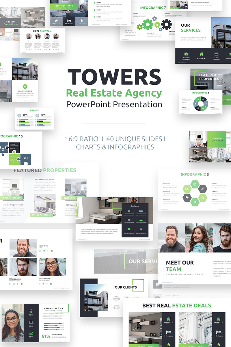 Towers Real Estate Agency PowerPoint Template