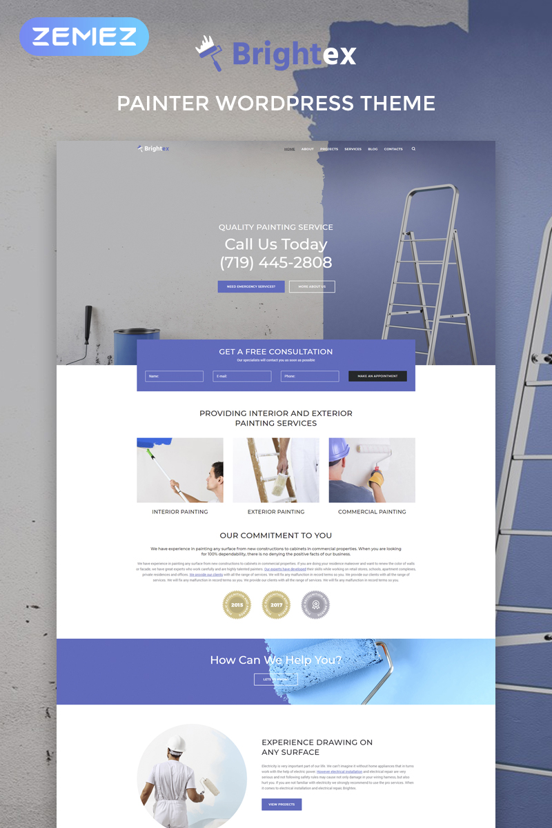 Brightex - Painting Services Multipurpose Classic Elementor WordPress Theme - screenshot