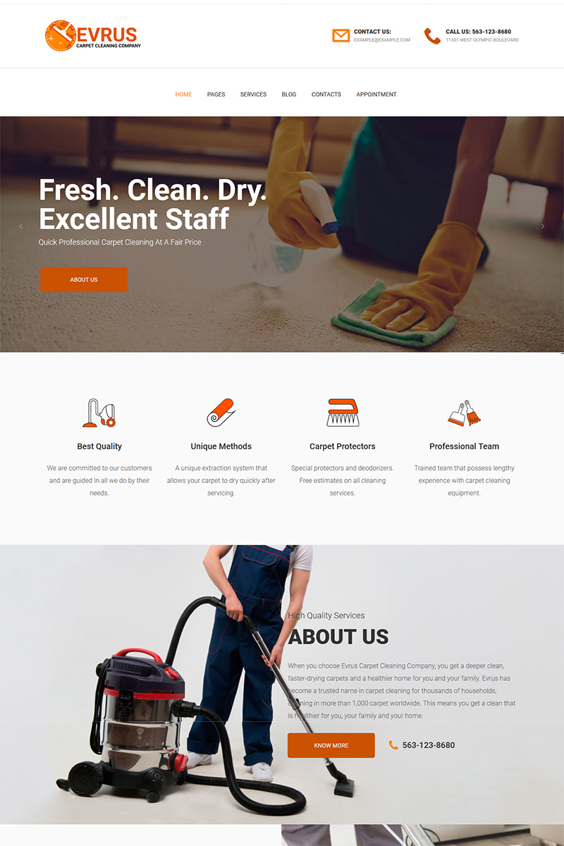 """""""Evrus - Carpet Cleaning and Desinfection"""" 响应式WordPress模板 #76173"""