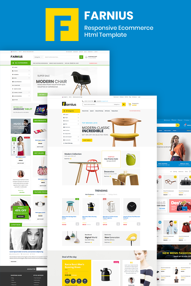 """Farnius - Furniture Store HTML5"" Responsive Website template №76194"