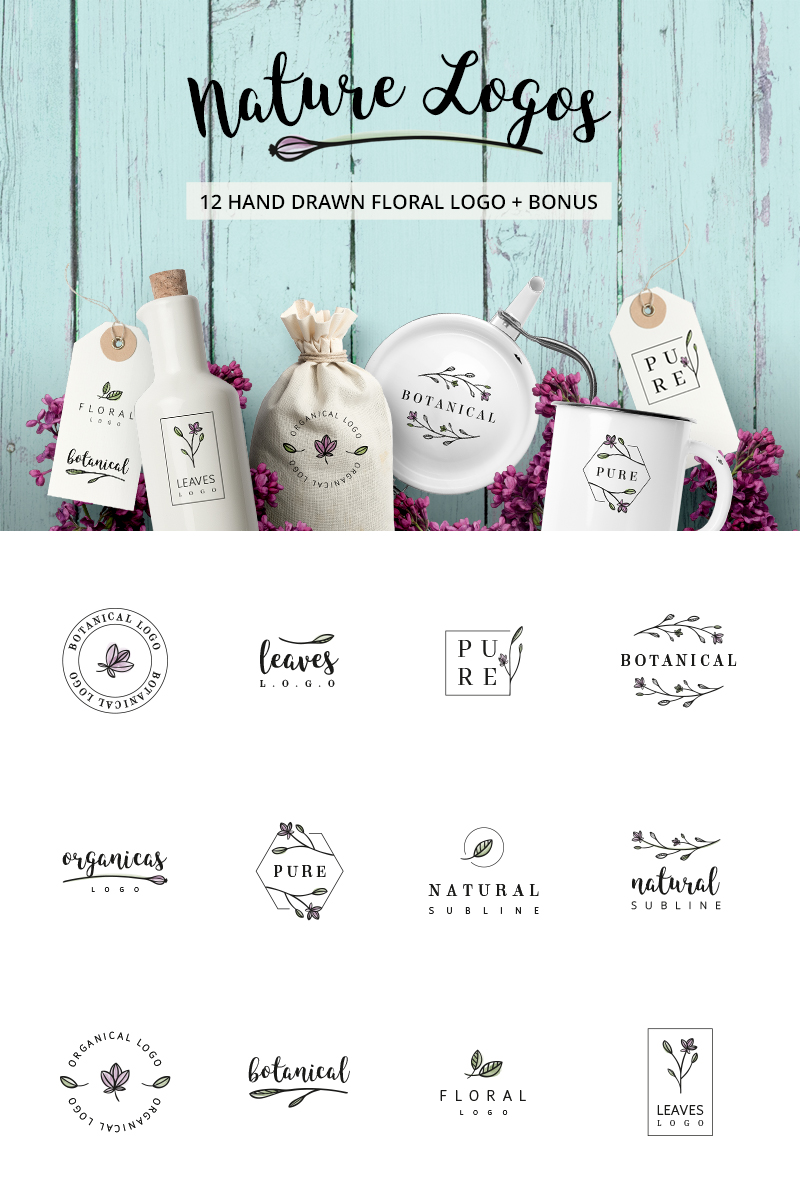 Nature & floral premade logos + BONUS №76100