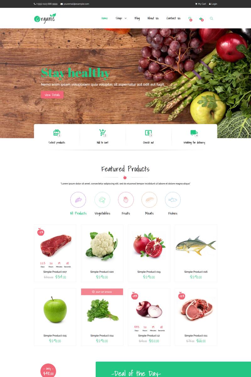 Organic - Food Elementor Tema WooCommerce №76168