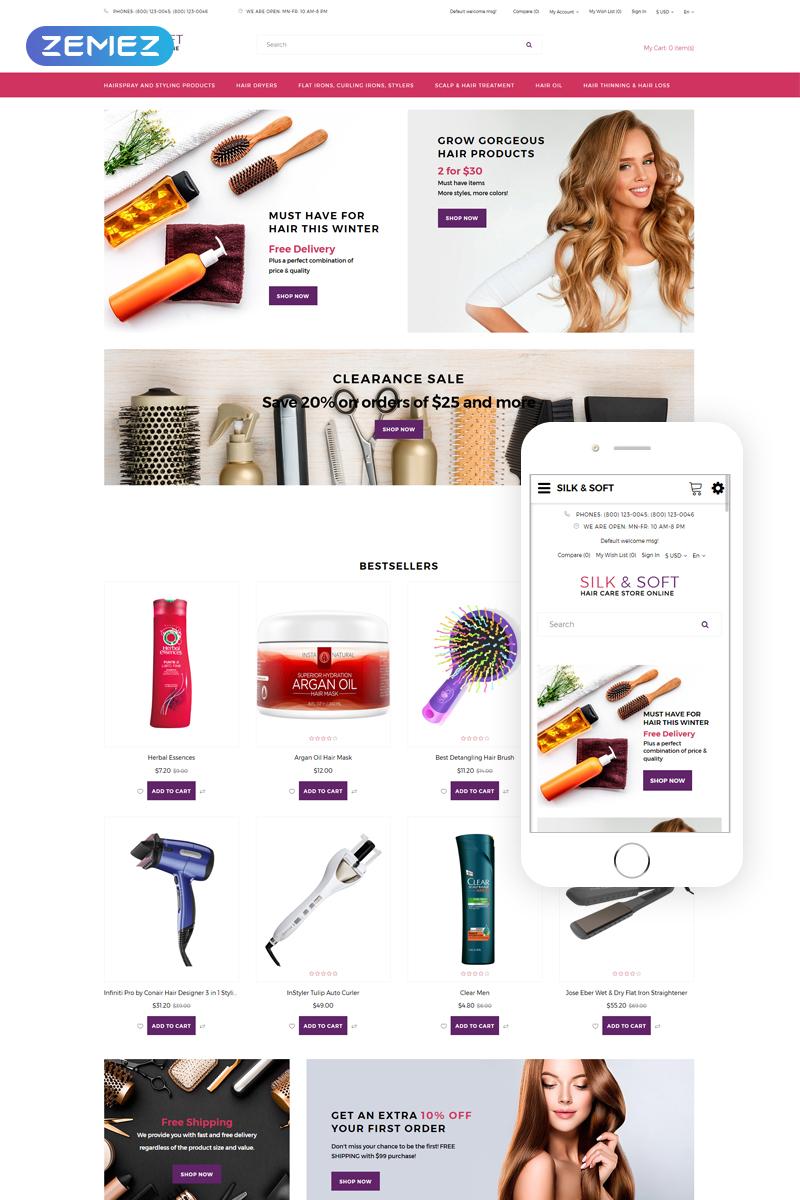 "Plantilla OpenCart ""Silk&Soft - Beauty Sho Dynamic Bootstrap"" #76189 - captura de pantalla"