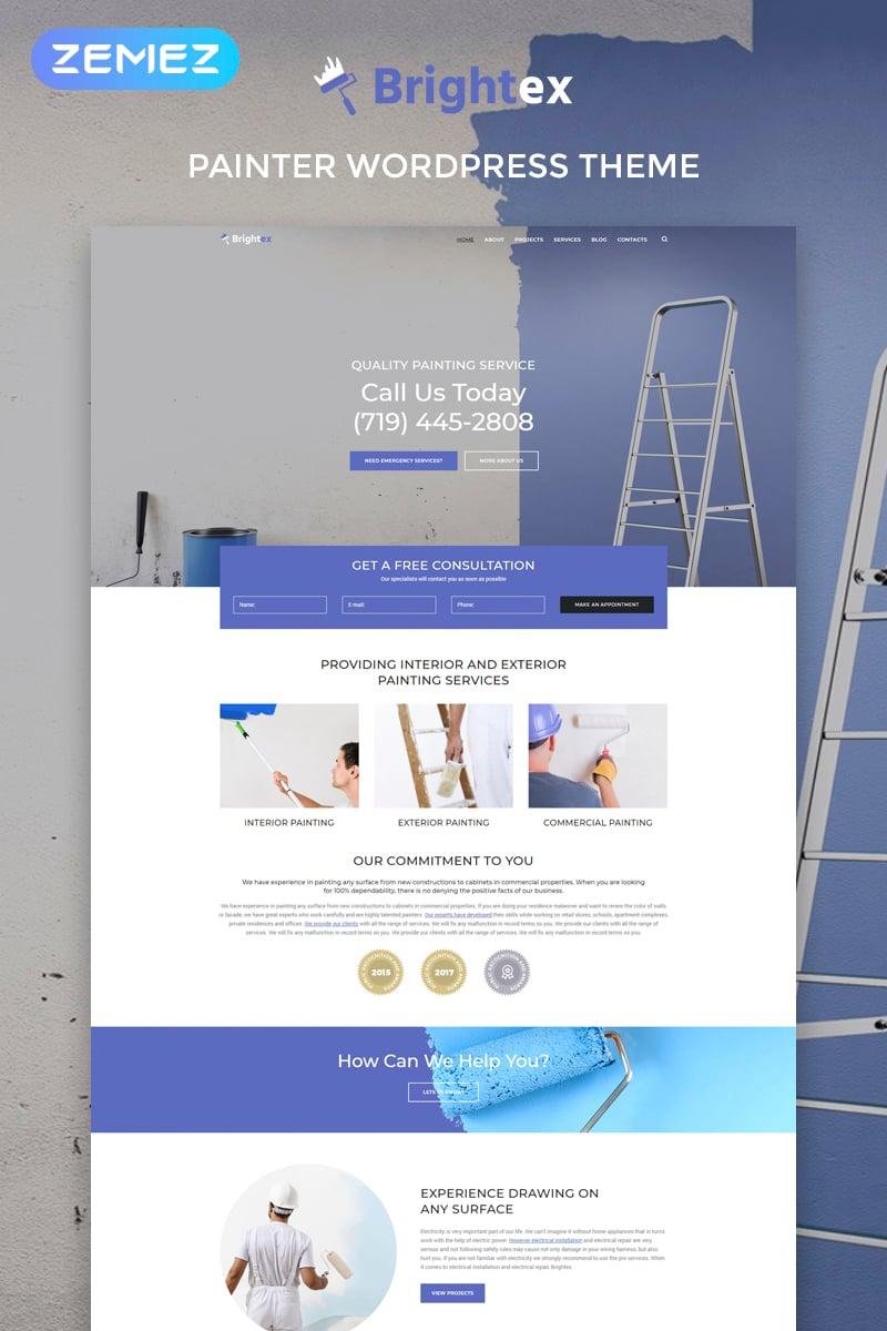 Responsivt Brightex - Painting Services Multipurpose Classic Elementor WordPress-tema #76179