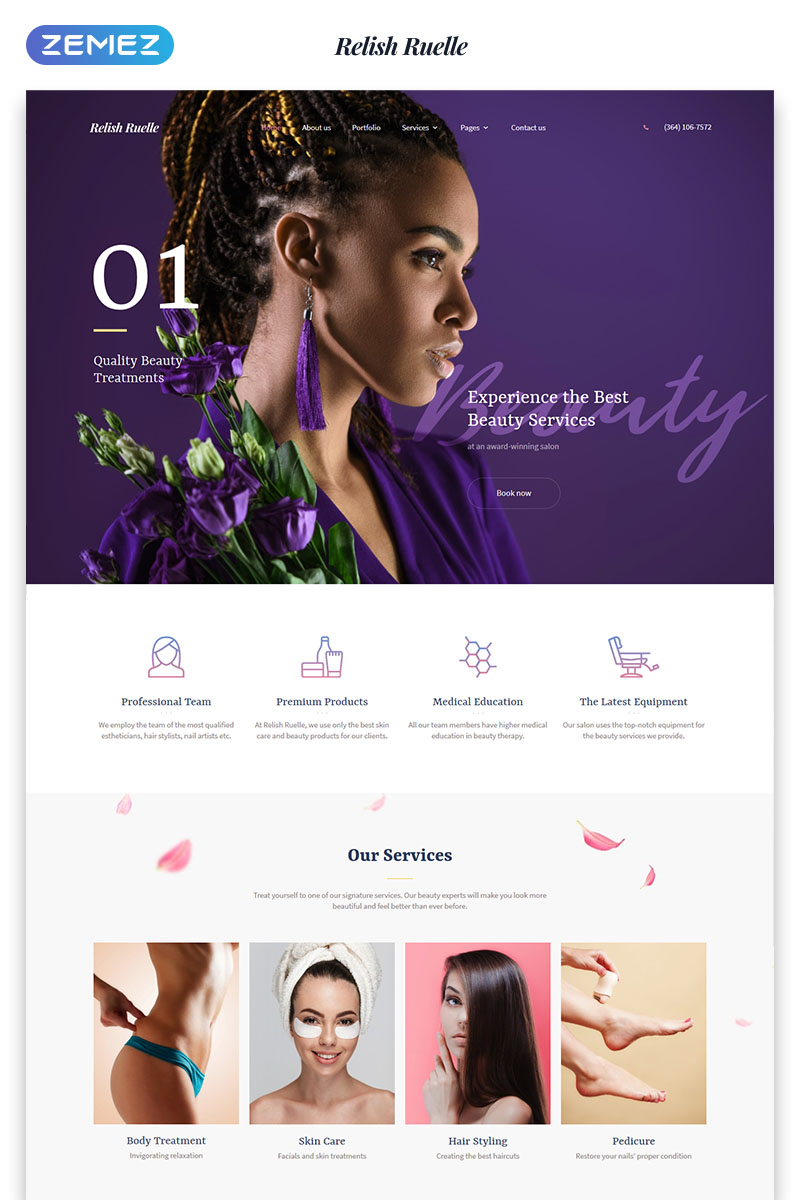 Responsivt Relish Ruelle - Beauty Multipage Clean HTML Hemsidemall #76139