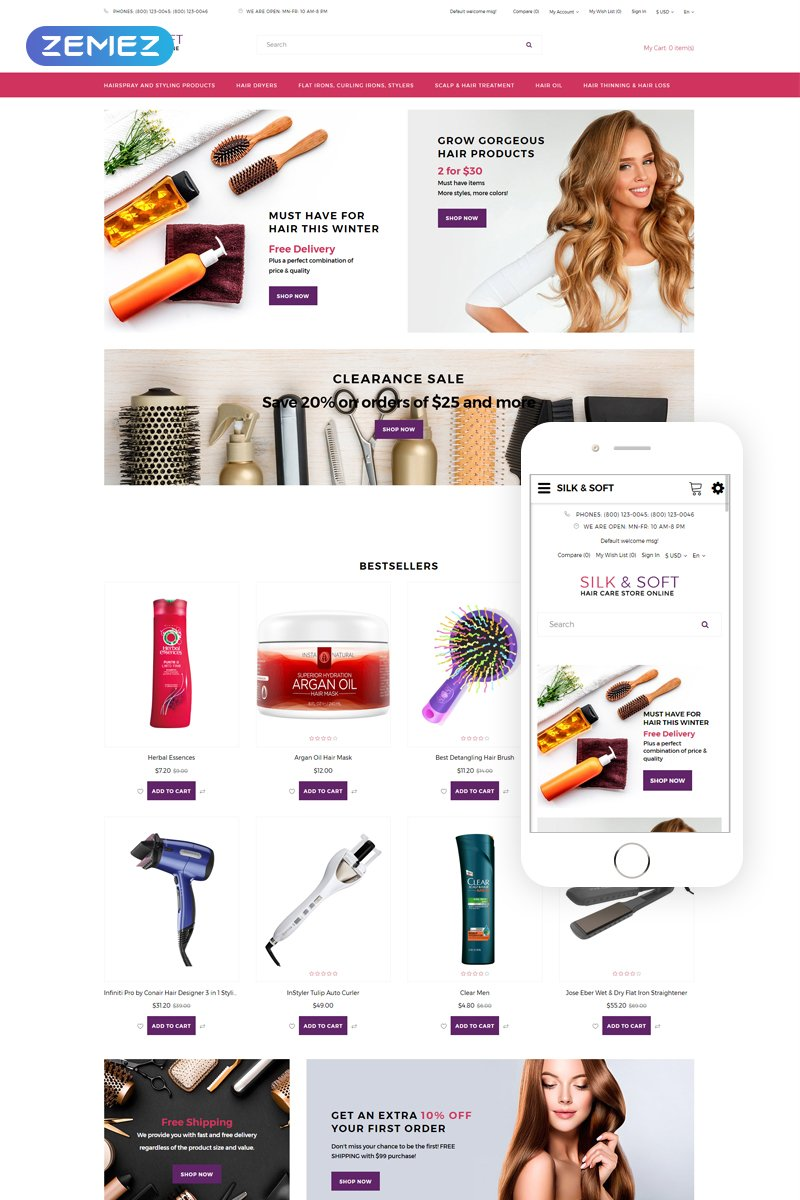Silk&Soft - Beauty Sho Dynamic Bootstrap Template OpenCart №76189 - captura de tela