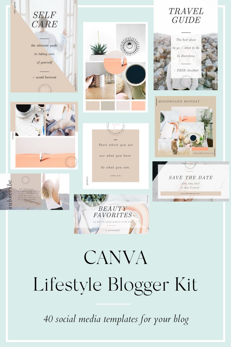 "Tema Social Media #76140 ""CANVA Lifestyle Blogger Kit"""