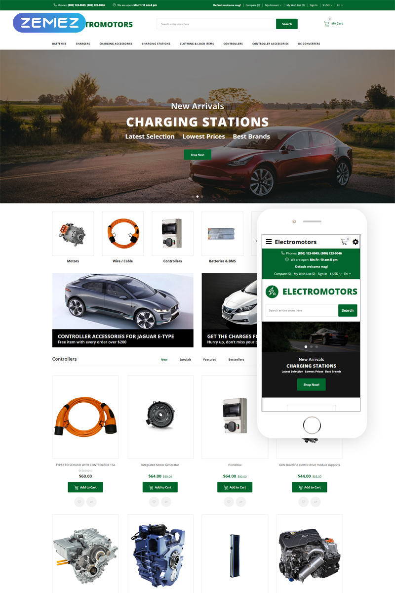 "Template OpenCart Responsive #76171 ""Electromotors - Car Parts Responsive Simple"""