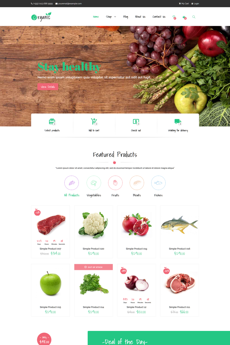 "Template WooCommerce Responsive #76168 ""Organic - Food Elementor"""
