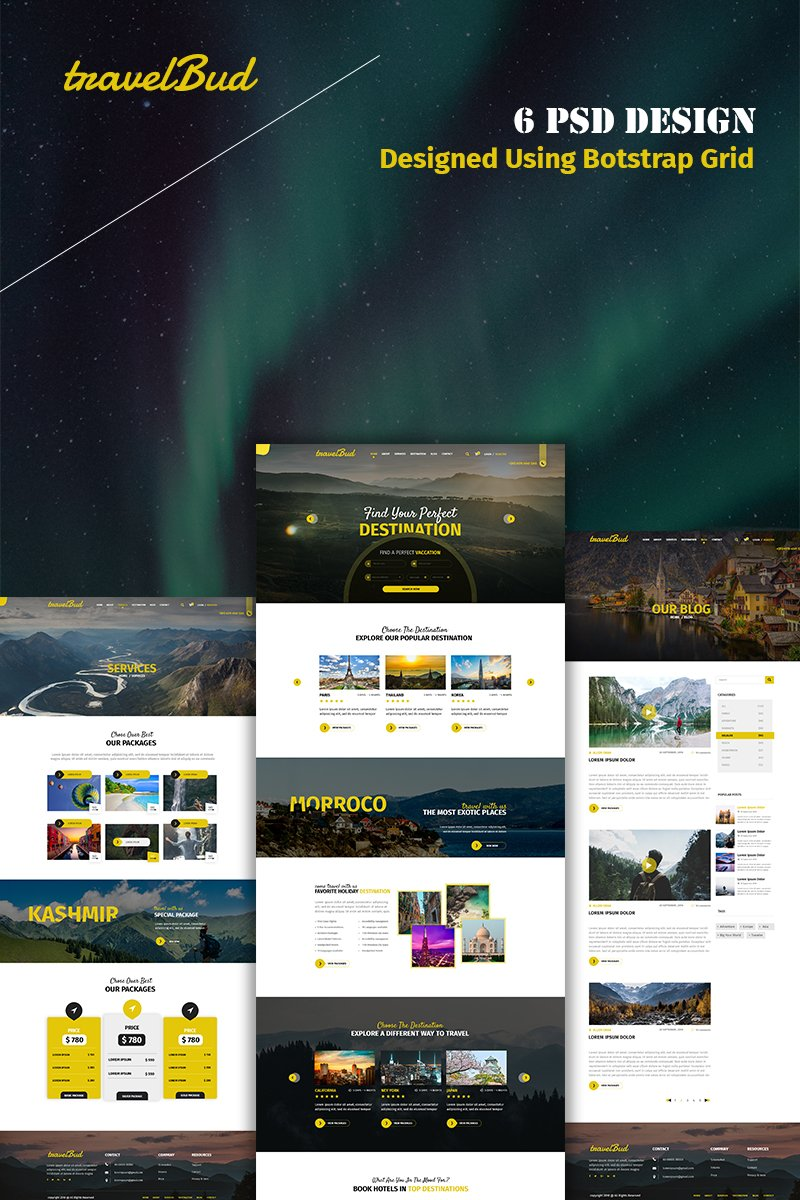 TravelBud - Multipurpose Travel PSD Template