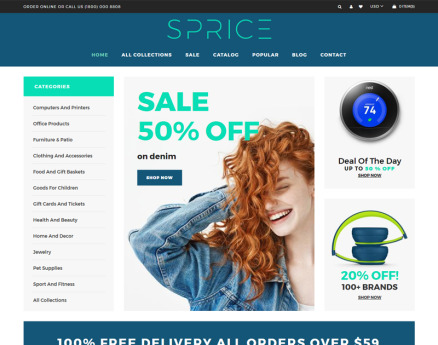 Sprice - Powerful Clean Bootstrap Shopify Theme