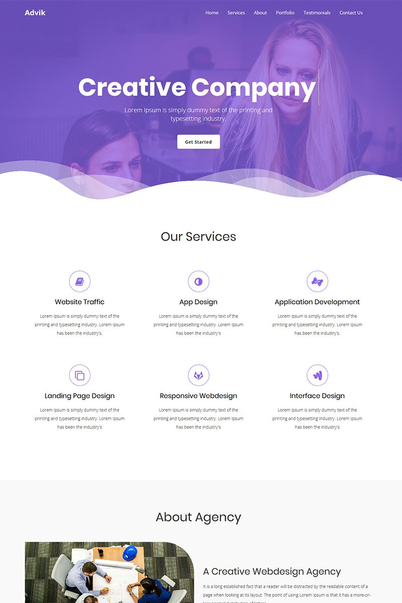 Advik - Creative Agency Landing Page Template - screenshot